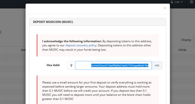 Musicoin Wallet on Bittrex