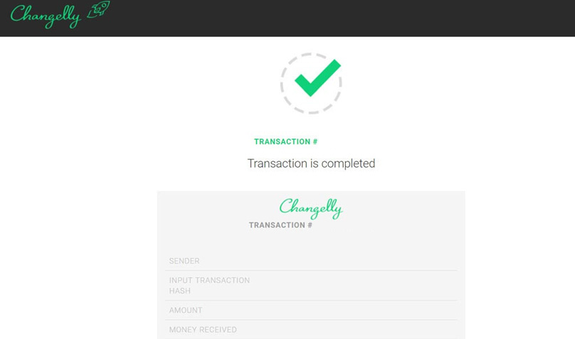 Changelly Transaction Complete