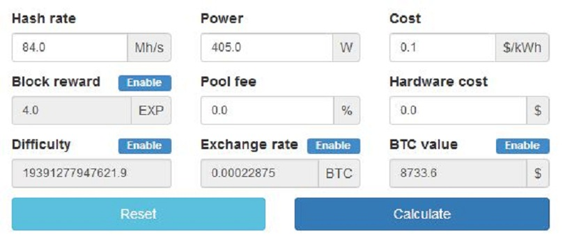 cryptocurrency mining calculator cpu