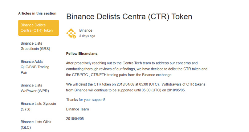 Binance Delists
