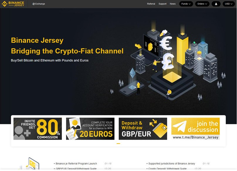 Binance Jersey Trading Screen