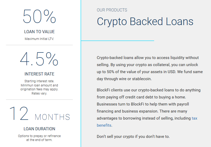 BlockFi Crypto Backed Loans