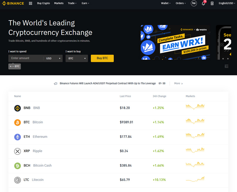 cryptocurrency exchange platform with usd