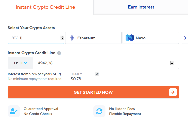 Nexo BTC Loan Calculations