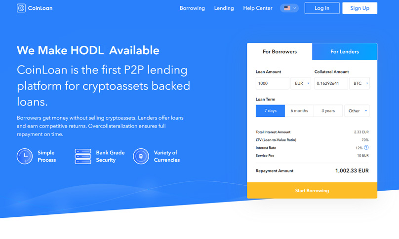 Coinloan homepage