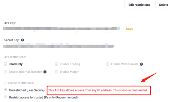 Binance API Settings