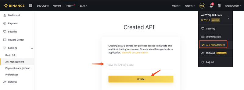 Create Binance API