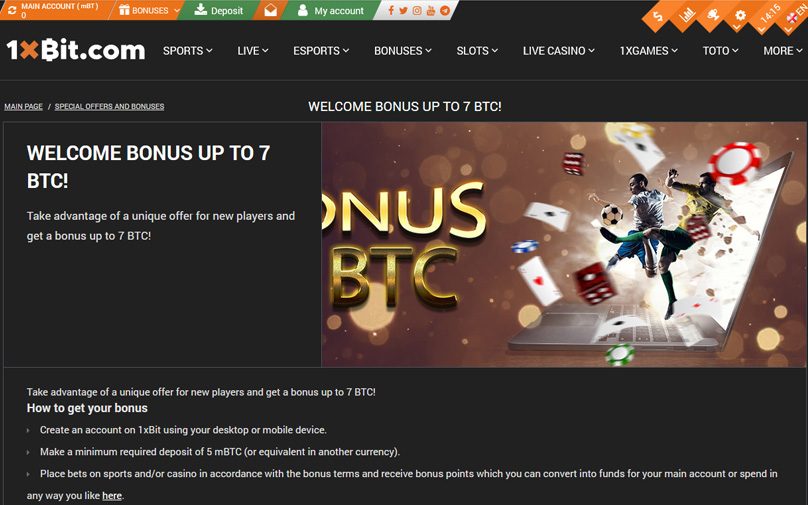 Welcome bonus up to 7 BTC
