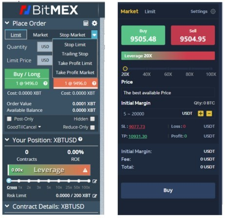 Side-by-side comparison between Bitmex and Bityard trading interface
