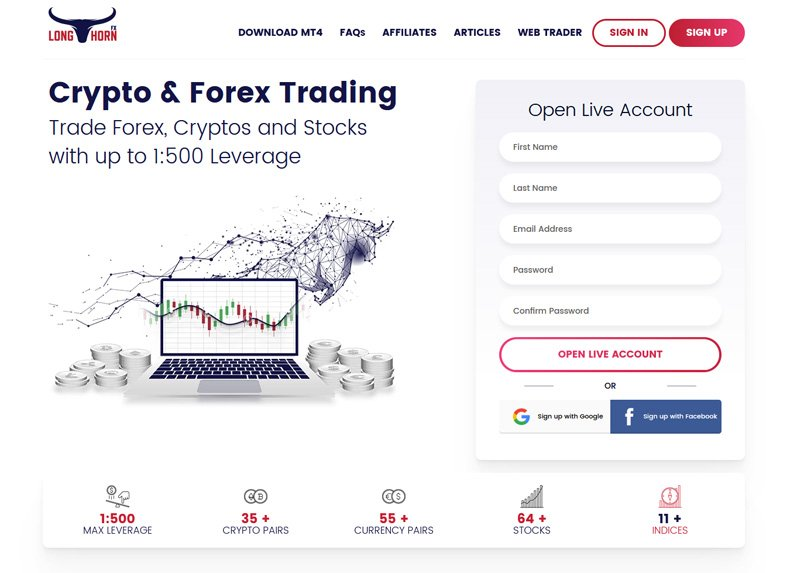 Trade Forex, Cryptos and Stocks with up to 1:500 Leverage