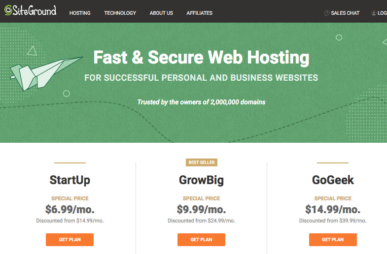 Siteground pricing plans with discount